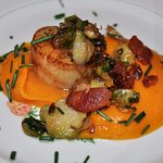 Pan Seared Sea Scallops with Sweet Potato Purèe, Shaved Brussels Sprouts, Bacon