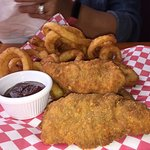 CHICKEN STRIPS AND ONION RINGS