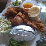 Source fried combination plate and gator tail.