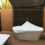 Private patio and soaking tub
