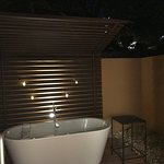 Private Patio soaking tub at night