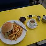 1) Austral burger and chips 2) pot of tea (real)