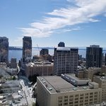 City skyline toward Elliot Bay. A direct walk to Pike Place down Pine Street below.