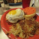 The breakfast burger with hash browns