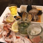 crab, mussels and clams, something with caviar in it, ceviche