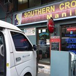 Hotel front door & Southern Cross Shuttle mini bus to Angeles City