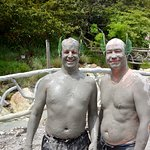 Enjoying volcanic mud bath!