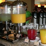 Several juices at breakfast buffet