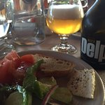perfect Greek salad with local beer