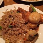 Seafood tofu hot pot and fried rice