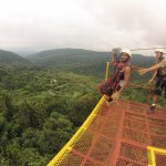 Zipling over the rainforest in La Fortuna