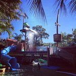 Water park with pirate ship and slides