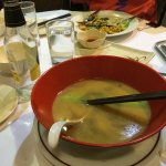 Really nice soup and spring rolls.