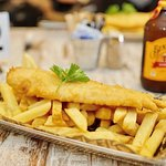 Fresh cooked to order beer battered fish and chips