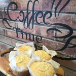Freshly baked lemon muffins from the cafe