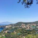 Vue d'ensemble de la péninsule sorrentine. Le Giardino se trouve sur la crête au fond.