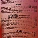 Soup, chow mein and other itmes