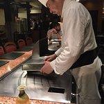 Chef preparing garlic rice