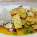 Fish fillet with tofu rice