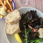 mussels and chips at the Porthmeor Beach Café