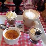 A trio of desertsto share! Creme brulee, tiramasu, chocolate mousse and coffee.
