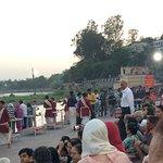 pujaries preparing for ganga arti at triveni ghat rishikesh