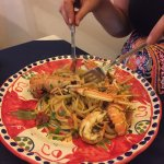 Prawn linguine. Looks impressive, doesn't taste anything special EUR 15.00