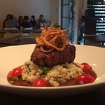 Our tender fillet served on a mushroom and leek risotto topped with onion rings and a port jus.