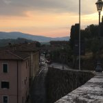 view of sunset drive to B&B from old town Chiusi