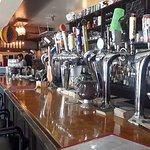 Beer taps across the bar