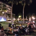 Night time outdoor cinema
