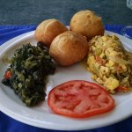 Jamaican Breakfast, ackee and salt fish, callaloo, fried dumplings, as good as it looks
