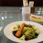 "Salmon salad and ""smoothie"" :))"