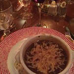 French onion soup. Delicious and not overly coated with cheese.