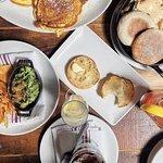 pancakes, yogurt, and eggs benedict