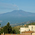 View of Mt. Etna from rooftop patio