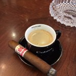 Cuban Coffee and a Hoyo De Monterrey Seri Le Hoyo - if you haven't had one, need to try one for