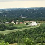 View from Horseshoe Mound park looking back to Galena IL and Dubuque IA.
