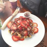 Waffle with strawberries and Nutella