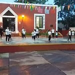 View of kids dancing from the restaurant.