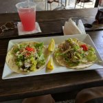 Peto fish tacos and fresh watermelon juice