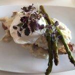 Smoked Haddock, Poached Egg, Braised Asparagus, Walnut Toast