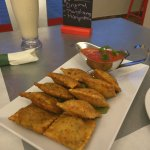 Fried cheese and beef ravioli