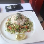 Wonderful food [pictured: chopped salad with crabmeat, sesame-soy chicken salad, crab cake]