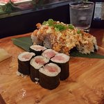 Yellow Tail Tuna Maki Roll and Mount Fuji sushi