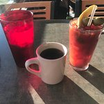 iced water - coffee - huge bloody mary