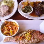 Escovitched Red Snapper, Jerk Chicken.