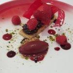 Rasberry and chocolate tart