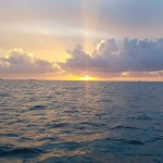 The beautiful Key West sunset from front of the catamaran