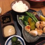 grilled vegetables and scallops with white rice